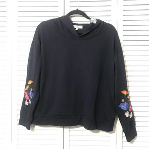 NWT CRAVE FAME Navy Floral Embroidered Pullover
